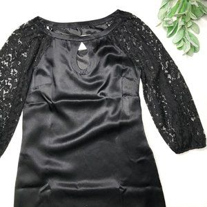 ALICE & TRIXIE | XS black silk lace sleeve dress